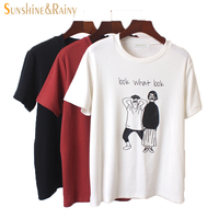 2016 Top Fashion Summer Blouses Ladies High Quality Loose Cute Cartoon Letter Printing T Shirts Short