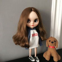 lythe Doll Accessories Hoodie Sweatshirt White Clothes Navy Blue Long Sleeve Patchwork Hoodies for Azone Pullip Jointed Dolls ox horn button coat for azone momoko licca pullip blyth doll clothes accessories