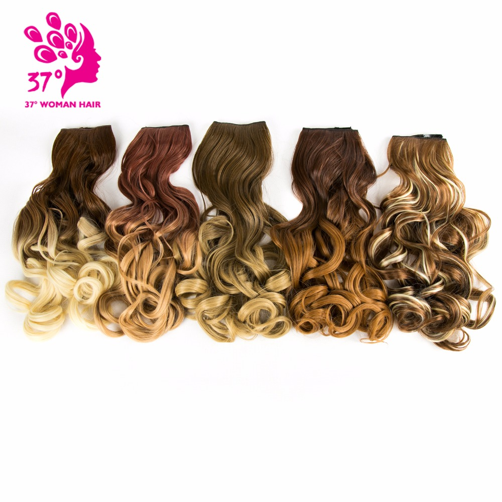 20inch Wavy Synthetic Clip in Hair Extensions Half Full Head Hairpiece 5 clips One Piece Black Brown Blonde False Hair