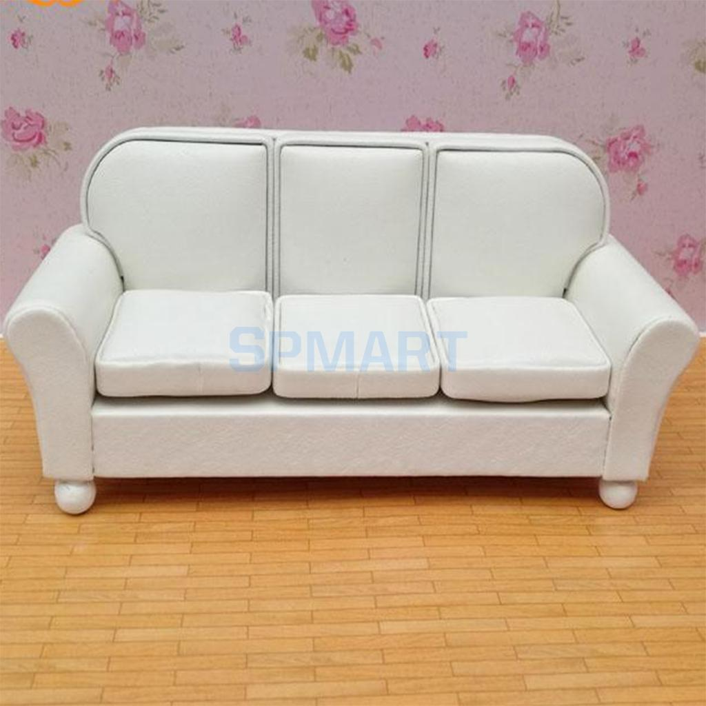 1/12 Scale European Style Three People Sofa Leather Couch