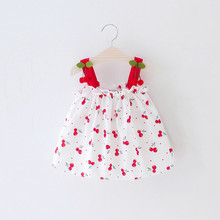 Summer New Cotton Baby Girls Sleeveless Dress Newborn Bebe Cherry Print Sling Dresses Girl Princess Infant Clothing infant baby clothes brand design sleeveless print bow dress 2016 summer girls baby clothing cool cotton party princess dresses