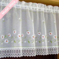 Countryside Half Curtain Embroidered Window Valance Wear Tube Lace Hem Coffee Curtain For Kitchen Cabinet Door