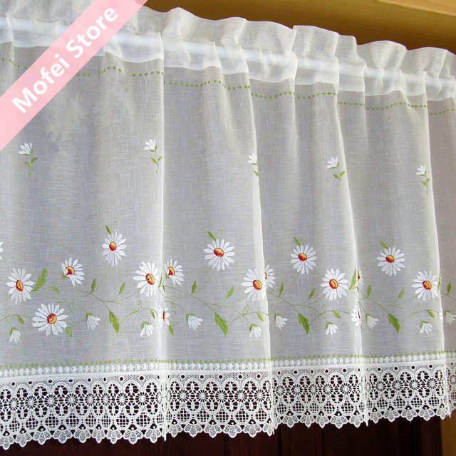 Countryside Half Curtain Embroidered Window Valance Lace
