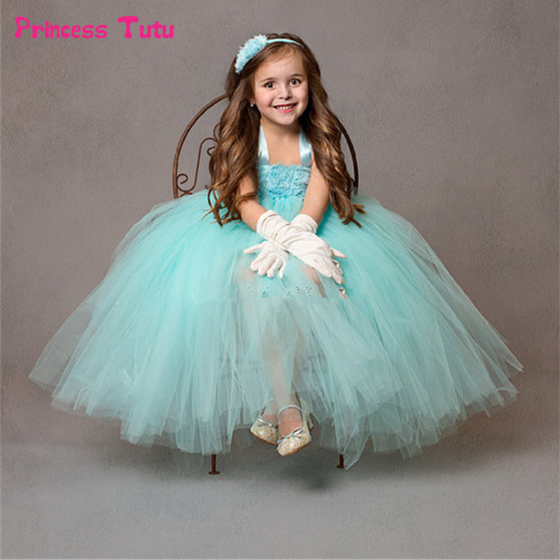 Mint Green Flower Girl Dresses For Party and Wedding Kids Girl Pageant Birthday Bridesmaid Tulle Tutu Dress Princess Dresses handmade princess girls rainbow tutu dress tulle flower girl dresses for party and wedding kids birthday dresses robe enfant