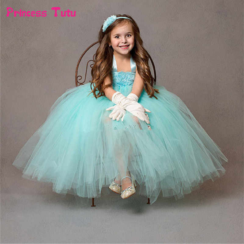 cda584fdb7 Mint Green Flower Girl Dresses For Party and Wedding Kids Girl Pageant  Birthday Bridesmaid Tulle Tutu Dress Princess Dresses