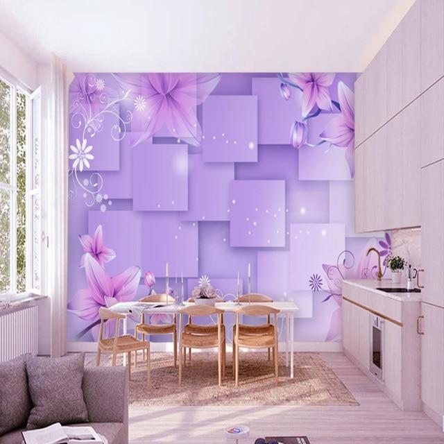 Kustom Dinding Mural 3d Ungu Bunga Wallpaper Kamar Tidur