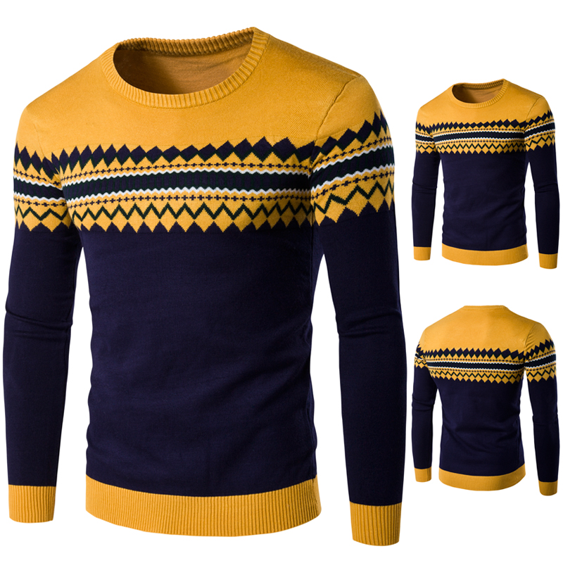 55e7803f689213 New winter fashion gentleman personality ethnic wind pattern round neck  sweaters turtleneck sweater