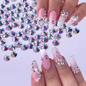 1440 Pcs Shiny Crystal Nail Rhinestone AB Silver Flat Back Stone 3D Glitter Jewelry