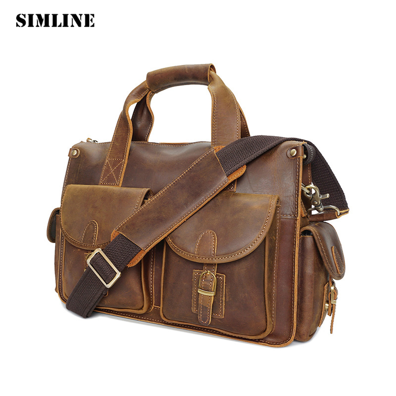 Vintage Casual Business Genuine Crazy Horse leather Cowhide Men Men's Handbag Handbags Shoulder Messenger Bag Bags Briefcase Man crazy horse cowhide men business tote handbag vintage laptop bags briefcase men genuine leather messenger sling shoulder bag
