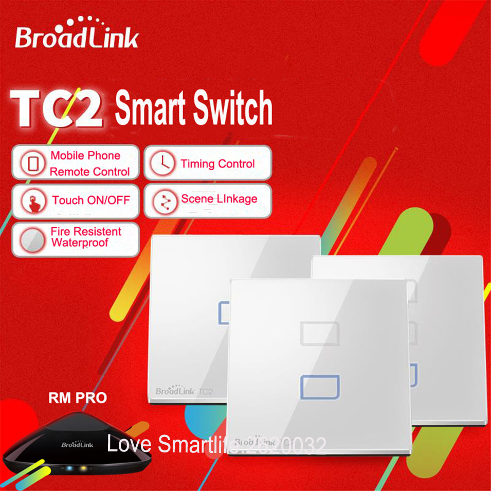 Broadlink TC2 Smart Wall WIFI Touch Light Switch EU 1gang 2gang 3gang EU US UK RM2 RM Pro Universal Remote Controller RF433mhz бра artelamp interior a7107ap 1ab