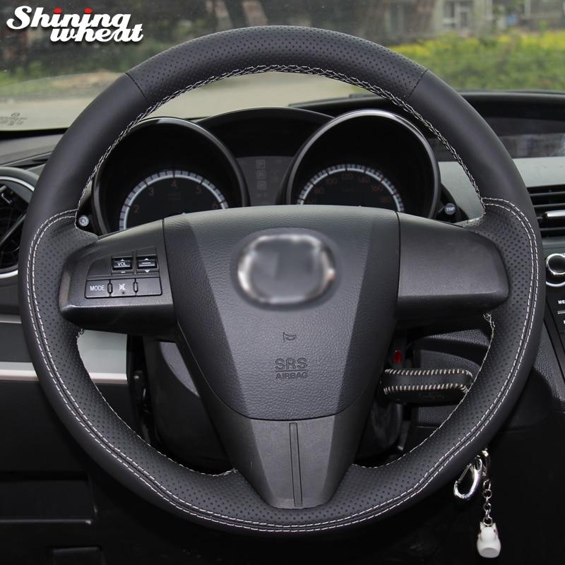 For Sale 2008 Mazdaspeed 3 Wheels: Shining Wheat Black Genuine Leather White Thread Car Steering Wheel Cover For Mazda 3 Axela 2008
