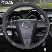 Shining wheat Black Genuine Leather White Thread Car Steering Wheel Cover for Mazda 3 Axela 2008 2013 Mazda CX 7 CX7 Mazda 5