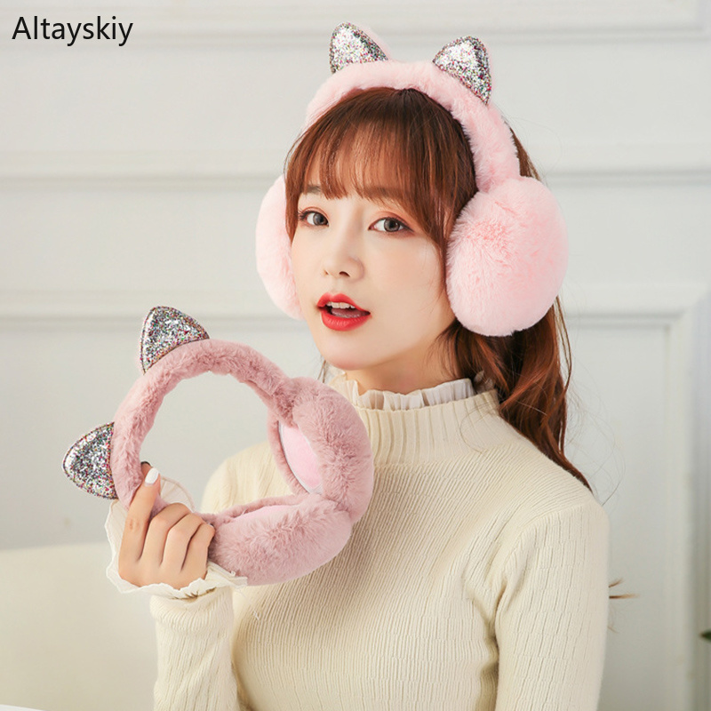 Earmuffs Women Folding Cotton Plush Bow Plaid Printed Cat Ears Womens Ear Warmers Winter Soft Kawaii Korean Style Antifreeze New