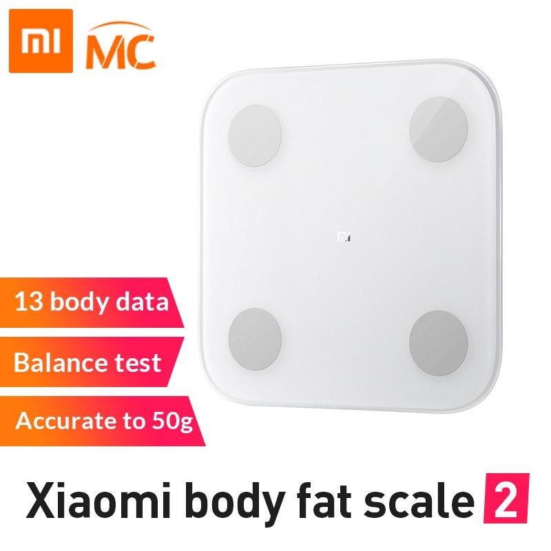 Nowa oryginalna inteligentna waga do pomiaru tkanki tłuszczowej Xiao mi mi 2 z aplikacją mi fit i analiza składu ciała z ukrytym wyświetlaczem LED skala tłuszczu w Inteligentny pilot zdalnego sterowania od Elektronika użytkowa na AliExpress - 11.11_Double 11Singles' Day 1