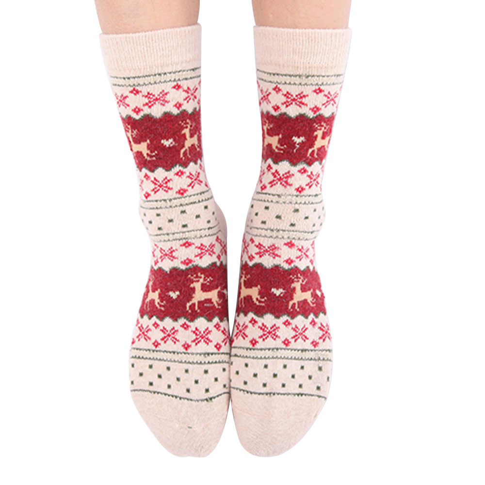 RandomWomen Christmas Gift Sock Fashion Winter Rabbit Wool Snowflake Deer Pattern New