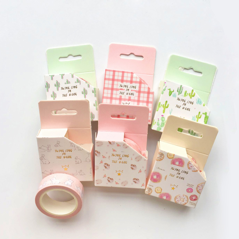 1.5CM*6.5M Fresh Cactus Pink Grids Cat Rabbit Masking Tape Album Scrapbooking Decor Paper Washi Tape Stick Label