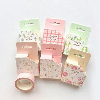 1.5CM*6.5M Fresh Cactus Pink Grids Cat Rabbit Masking Tape Album Scrapbooking Decor Paper Washi Tape Stick Label