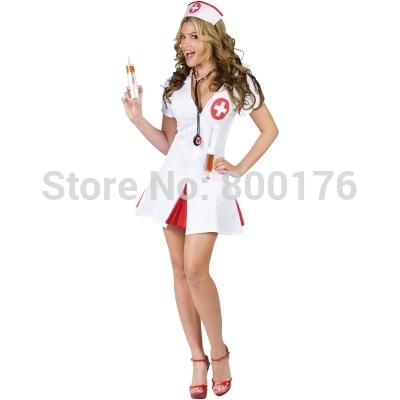 Free Shipping 2015 zy341 nurse costume fancy dress halloween plus size costume S-3XL