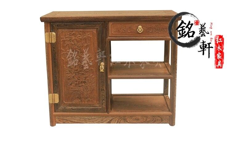 Wenge tea cabinet tea cabinet mahogany furniture of Ming and Qing classical Chinese sideboard lockers pu er raw green tea 2006 six famous tea mountain yiwuyeshengchabeeng cake bing unfermented qing sheng cha 357g