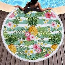 38fca49f7d6a Microfibra Toalha de Praia para Adultos Esteira da Ioga Borla Cobertor  Grande Rodada Círculo Toalha de Frutas Abacaxi Impresso T..