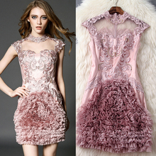 2016 spring and summer women clothes European and American fashion Exquisite embroidered disk flowers beading silk