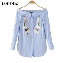 La-Tee-Da!elyq New Striped Embroidery Flowers Blouses Women Slash Neck Collar Shirts Lady Fashion Casual Off Shoulder OL Vestido
