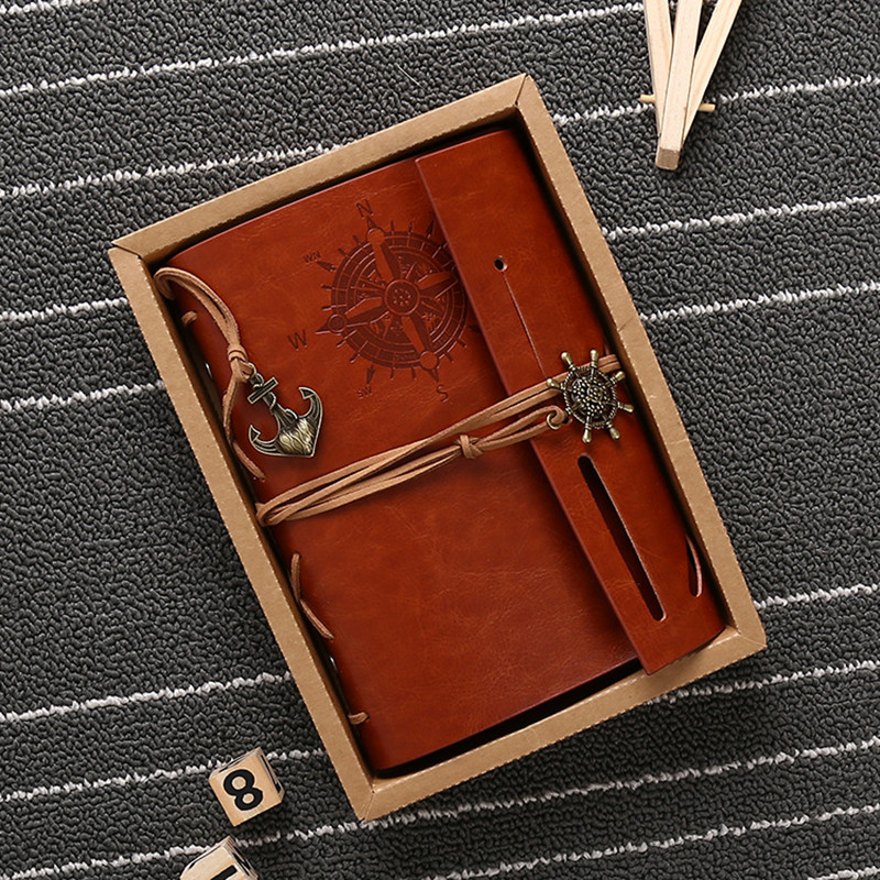 Hot sale leather journal travelers notebook vintage kraft paper blank sketchbook diary A6 note book can be engraved Notebooks