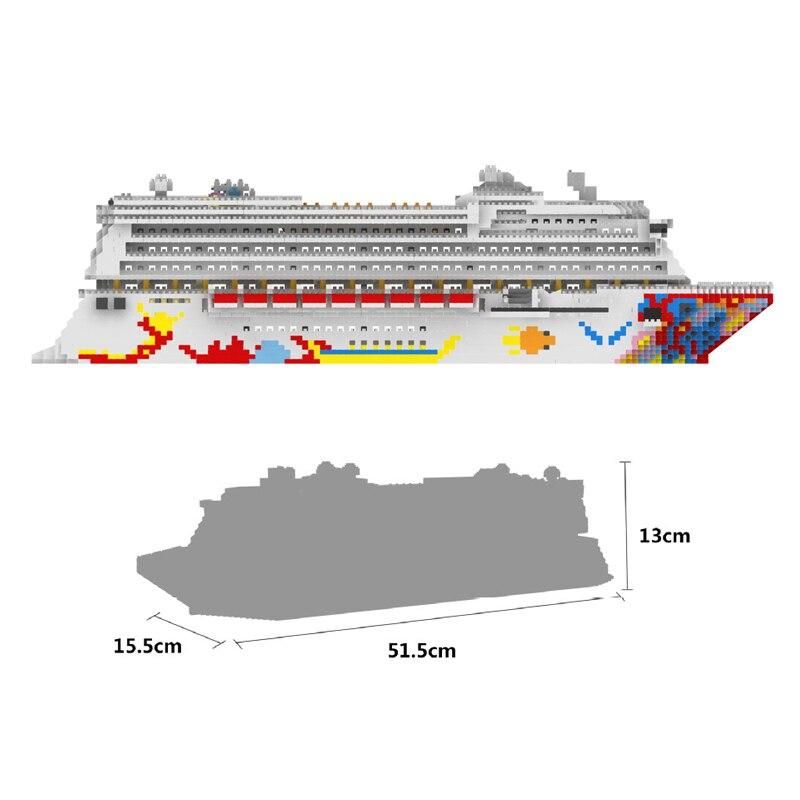 ZRK bateau de croisière de luxe grand bateau blanc modèle 3D bricolage diamant Mini bâtiment Micro petits blocs briques assemblage jouet sans boîte-in Blocs from Jeux et loisirs    2