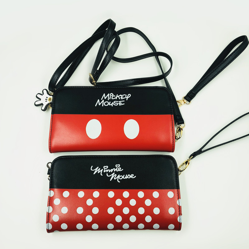 Mickey minnie shoulder bag wallet purse card money handbag party bags phone musette bag anime new shoulder bag