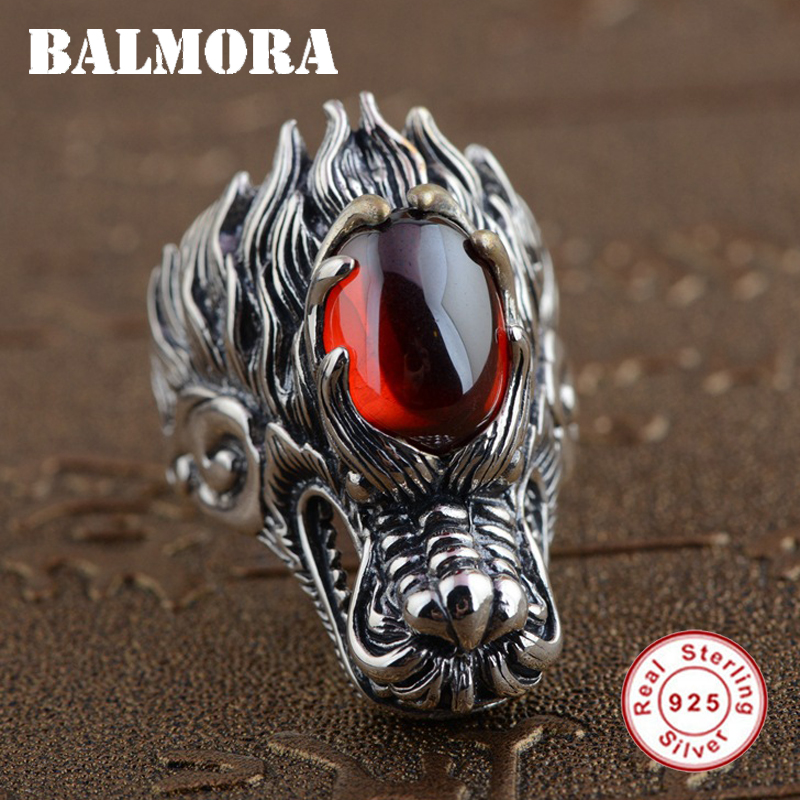 BALMORA Solid 925 Sterling Silver Vintage Dragon Head Rings for Men Red Garnet Thai Silver Ring