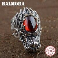BALMORA Katı 925 Gümüş Vintage Ejderha Başkanı Yüzükler Erkekler için Kırmızı Granat Tay Gümüş Yüzük Punk Takı Anillo SY20581