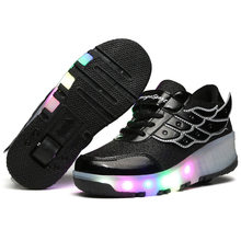 LED Roller Skates Shoes Single Wheel Roller Shoes Girls Boy Invisible Automatic Pulley Roller Skates Sneakers Skating Shoes(China)