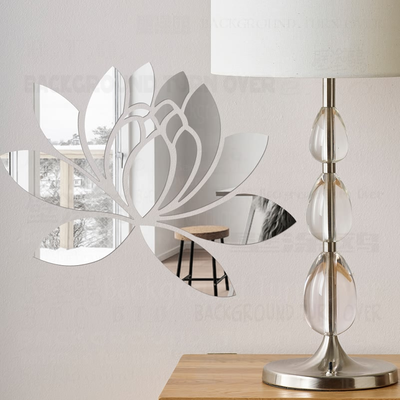 Creative elegant lotus 3d decorative acrylic mirror wall for 3d dining room wall art