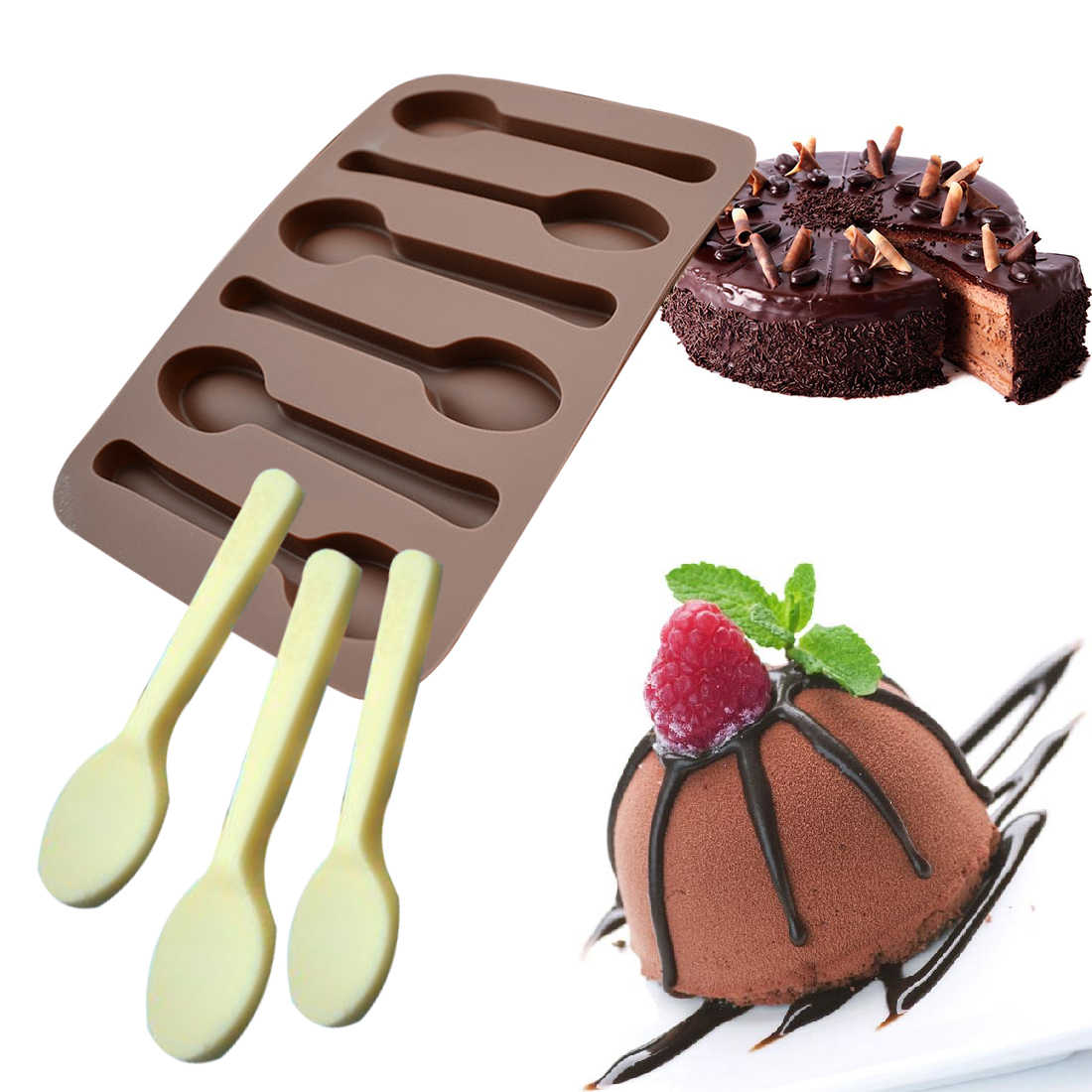 SPOON SILICONE MOULD-3D SPOONS MOLD-FONDANT TEASPOON//CHOCOLATE-ICING//CAKE//COFFEE