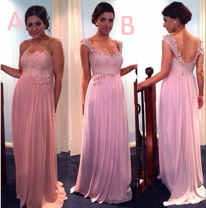 2 styles crystal beaded lace bridesmaid dresses peach for Ivory and silver wedding dress