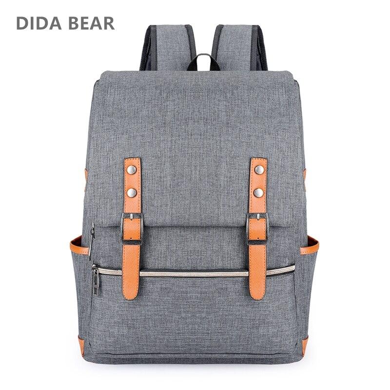 e04c461757ab Купить DIDA BEAR винтажные мужские женские парусиновые рюкзаки для девочек  подростков школьные сумки большой рюкзак для ноутбука Mochilas модный  мужской .