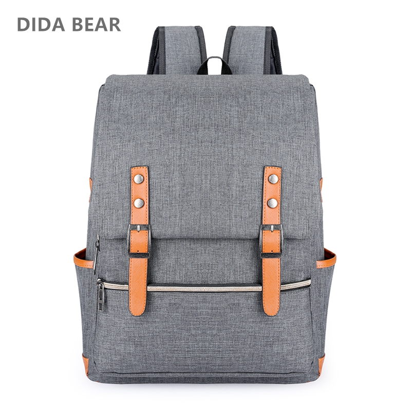 DIDA BEAR Vintage Men Women Canvas Backpacks For Teenage Girls School Bags Large Laptop Backpack Mochilas Fashion Men Backpack