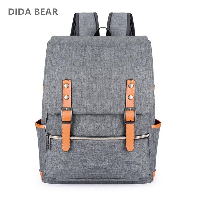 DIDA BEAR Vintage Men Women Canvas Backpacks For Teenage Girls School Bags Large Laptop Backpack Mochilas Fashion Men Backpack