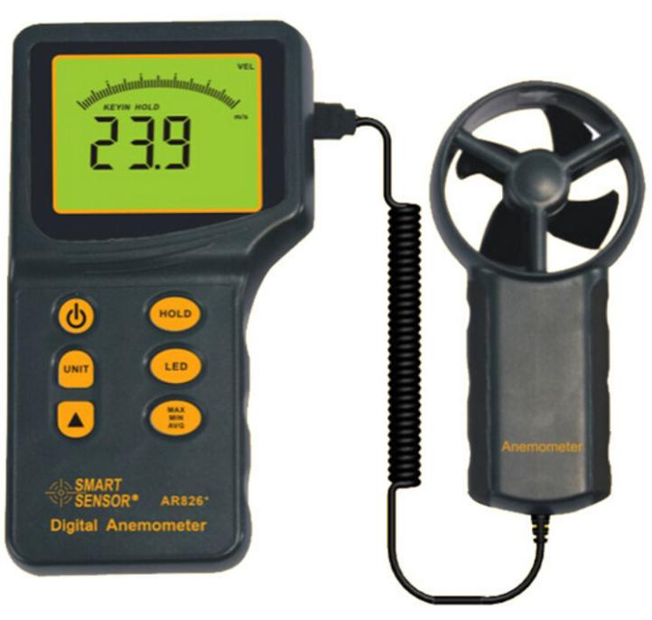 цена на Digital Airflow Anemometer Wind Speed Meter AR826+ Wind Speed Measuring Range 0.3~45m/s