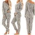 New Autumn and Winter 2Pcs Women Loose Long Sleeve Tracksuit Leopard Print Pants <font><b>Sets</b></font> Leisure Wear Lounge Wear Suit <font><b>Pajamas</b></font> <font><b>Sets</b></font>