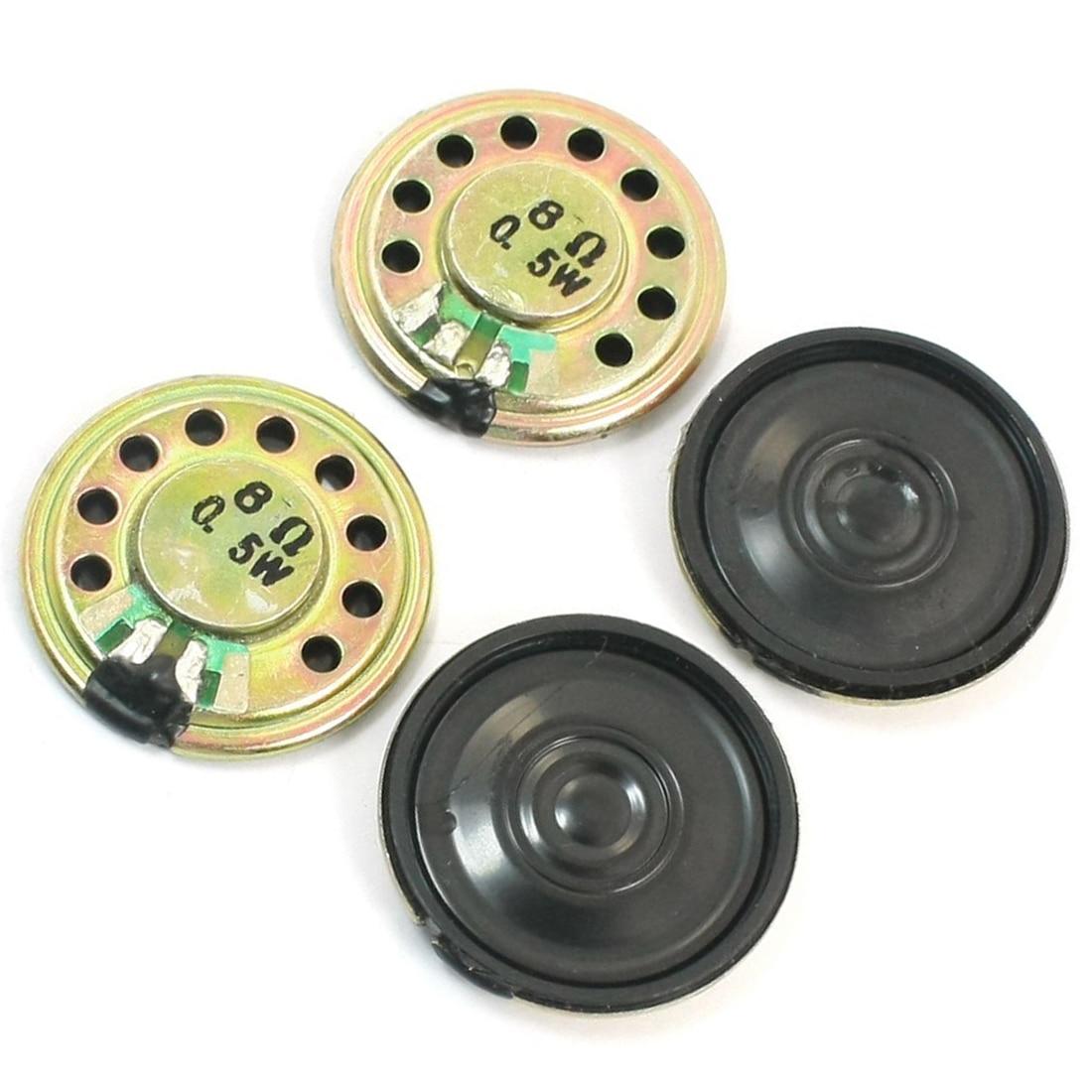 HFES 4Pcs 0.5W 8 Ohm 28mm Dia Mini Metal Inside Magnet Music Player Speaker