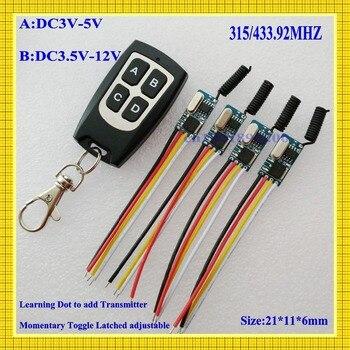 Interruptor de Control remoto inalámbrico, 433 mhz, 3,7 v 4,5 v 5 v 6 v 9 v 12 v 12 v Micro receptor interruptor + TRANSMISOR DC3.5V-12V voltaje ancho 1A Mos
