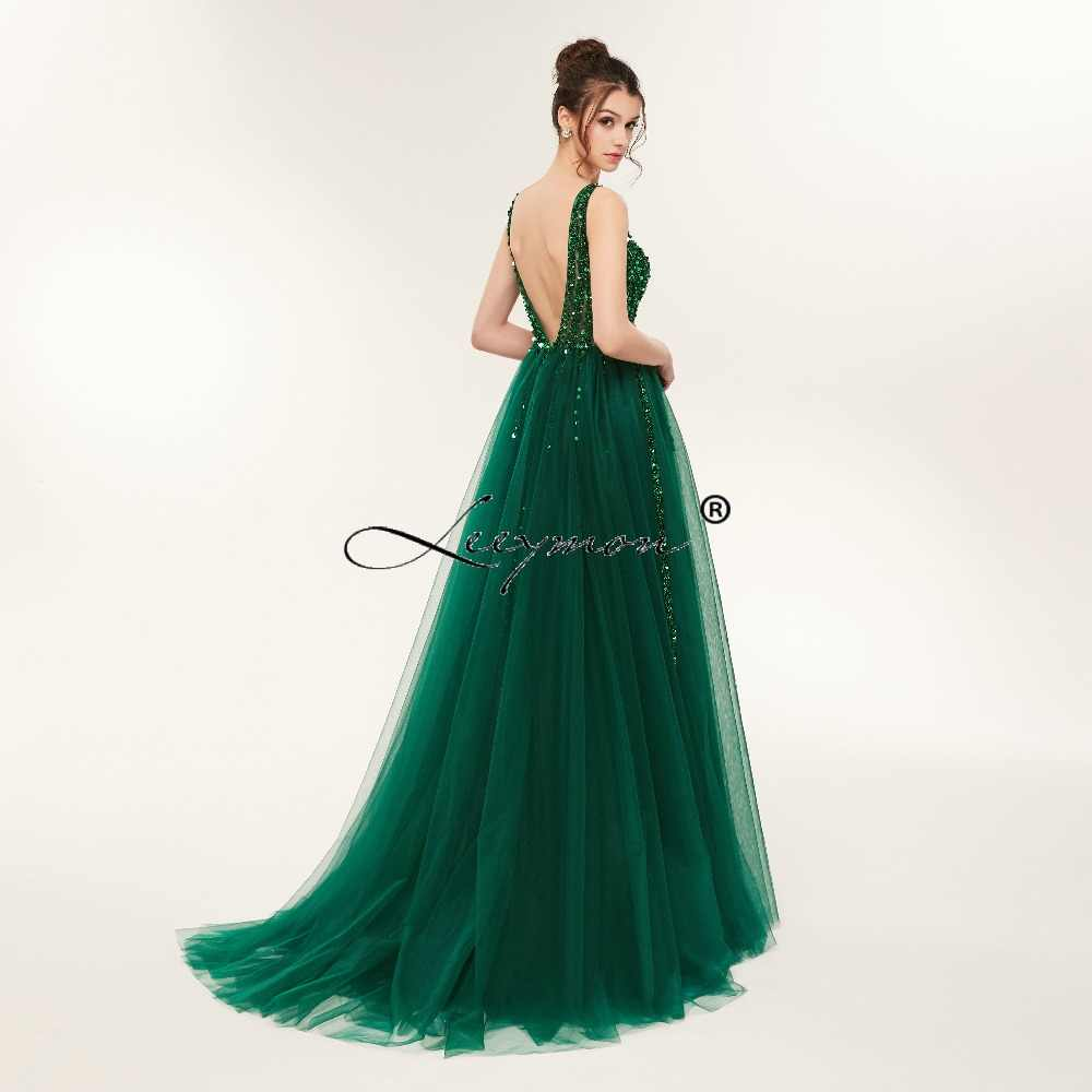 33e117d0b390e Plus Size High Side Split Green Prom Dress A-Line Tulle Long Party Dress  Beaded Sequined Sexy Open Back Formal Evening Dresses