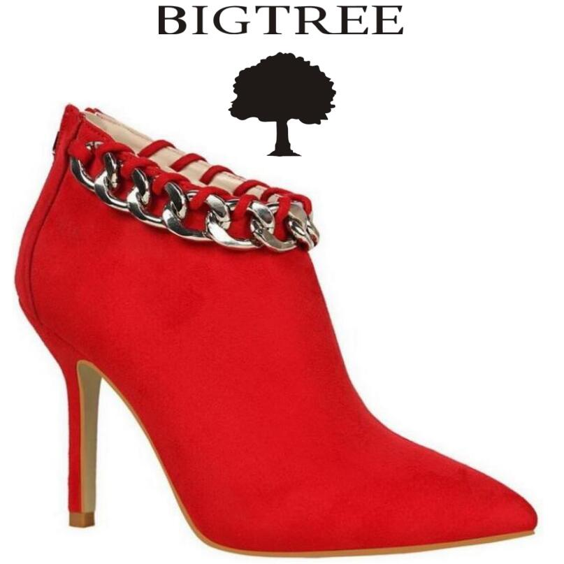 BIGTREE Women Boots Elegant Suede Pumps Shoes Autumn Winter Ankle Boots Pointed Toe Chains High Heels Boots Mujer Bota
