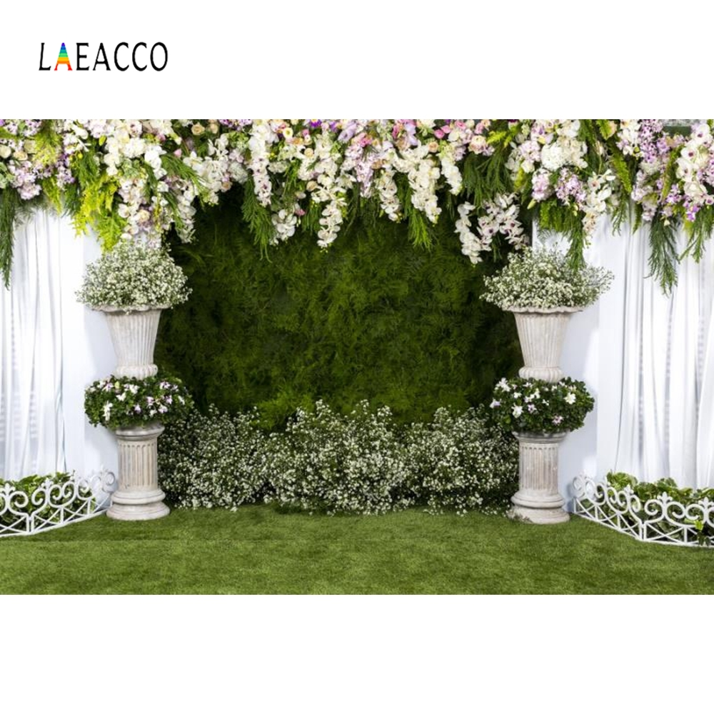 Laeacco Wedding Flower Wall Portrait Curtain Photo Backdrops Grassland Birthday Marriage Photography Background For Photo Studio