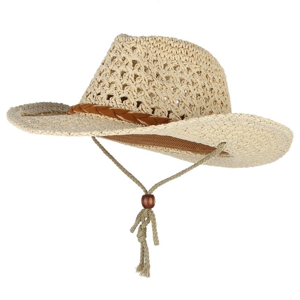 2fd4f355c8190 Western Cowboy Style Summer Hats For Women Men Wide Brim Sun Hat Handmade  Weaved Straw Hat Beach Sun Cap Fisherman Caps-in Sun Hats from Apparel  Accessories ...