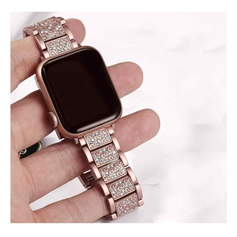 Pink Gold For Apple Watch Band 40 44 42 38mm Women Diamond Band For Apple Watch Series 4 3 Iwatch Bracelet Stainless Steel Strap Smart Accessories Aliexpress