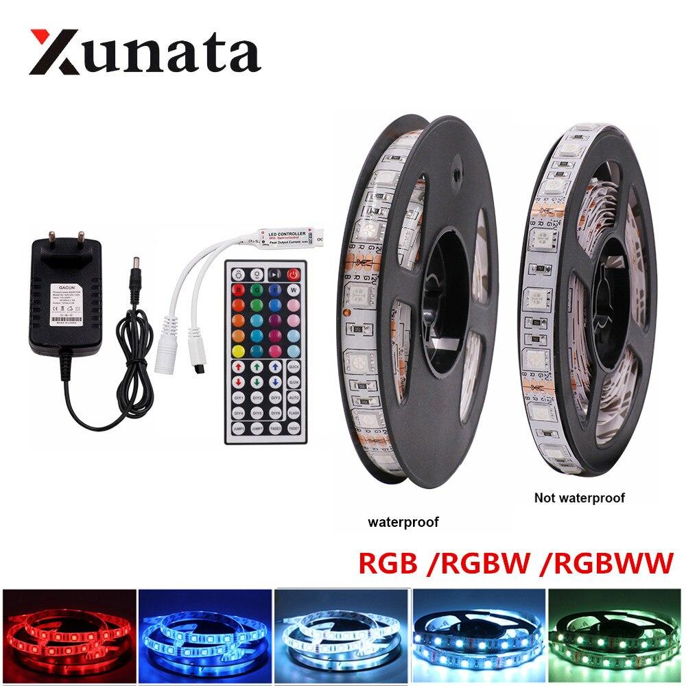 DC 12V RGB /RGBW /RGBWW LED Light Strip Set 5050 60LEDs/m Flexible Tape Ribbon LED Lamp With 40 Key 44 Key Power Supply 5m 10m