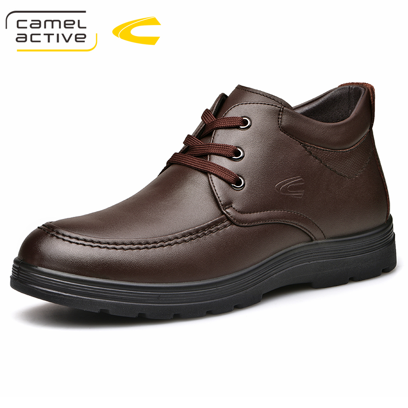 Camel Active New Men's Shoes Waterproof Winter Warm Snow Boots Men Vintage Genuine Leather Business Male Casual Ankle Boots все цены
