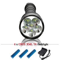 6 bulbs CREE XML T6 10000LM powerful led flashlight rechargeable 18650 battery waterproof hunting torch led flash lights lantern
